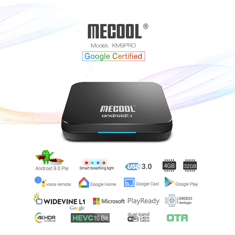 Google Certified MECOOL Androidtv TV Box Android 9 0 KM9 PRO ATV 2G/16G  Amlogic S905X2 4K 2 4G/5G Wifi KM3 TV BOX 4G/64G/128G