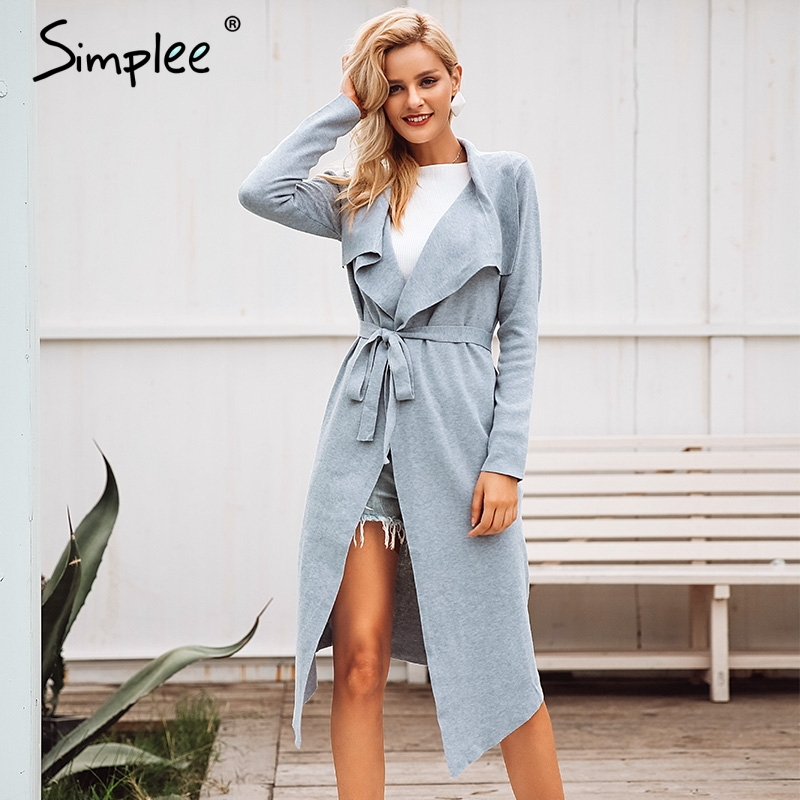 Simplee Belt Lace Up Women Cardigan Autumn Winter Long Sweater Jumper Knitted Cardigan Turn Down Collar Thick Casual Coat 2018(China)