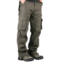 2018 Male Cargo Pants Casual Multi Packet Military Overall Outdoors High Quality Solid Long Trousers Plus Size 30 40 Hot Sale