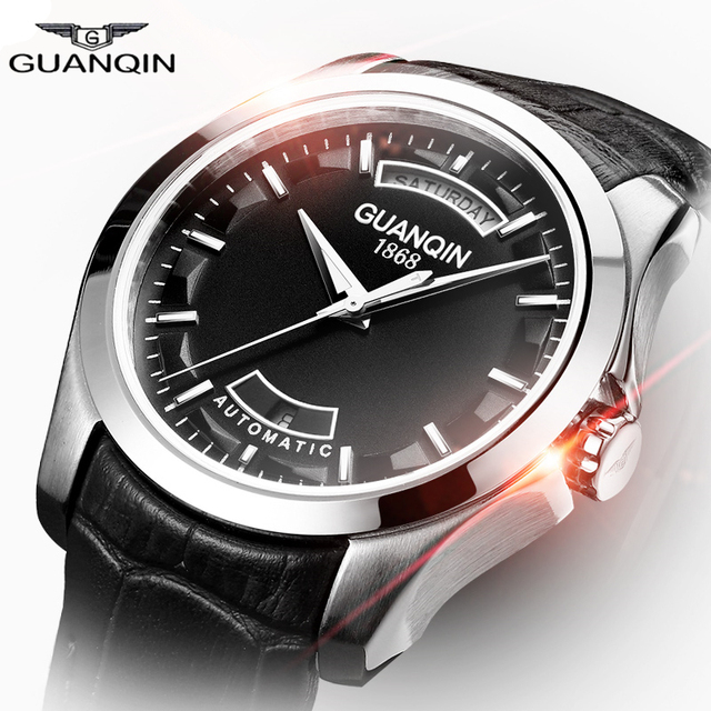 Watches Men Mechanical Automatic Luxury Brand GUANQIN Fashion Genuine Leather Watchband Waterproof Sport Relogio Masculino 2016