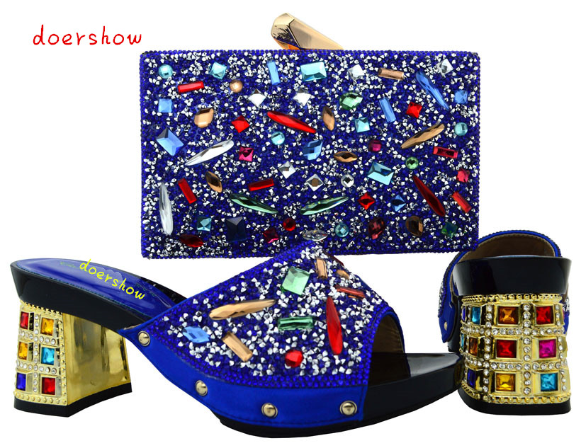 doershow African Shoes And Matching Bags Italian Women Shoes And Bags To Match Set With Stones   PUW1-17 doershow free shipping by dhl african shoes and matching bags italian women shoes and bags to match set with stones black yn1 2