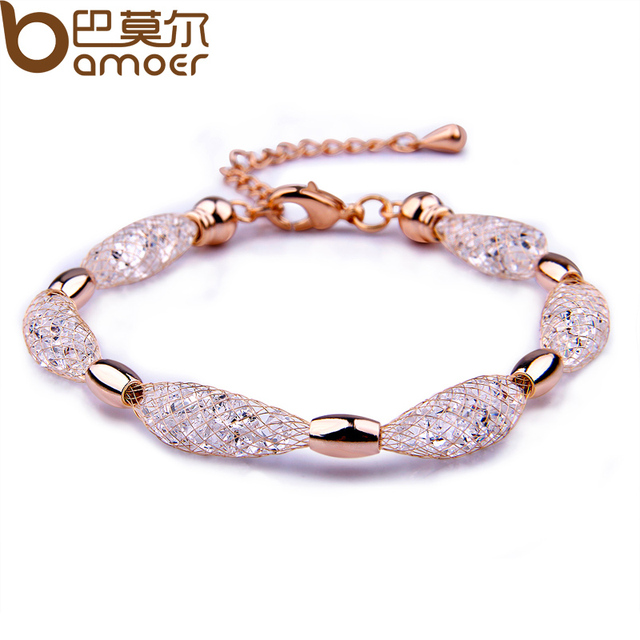BAMOER  Hot Sell  Rose Gold Color Crystal Chain Bracelet for Women Luxury High Quality Jewelry JSB017
