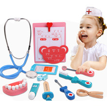 5PCS/Set Wooden Toys Funny Pretend Play Real Life Cosplay Doctor Game Toy Dentist Medicine Box Pretend Doctor Play For Children(China)