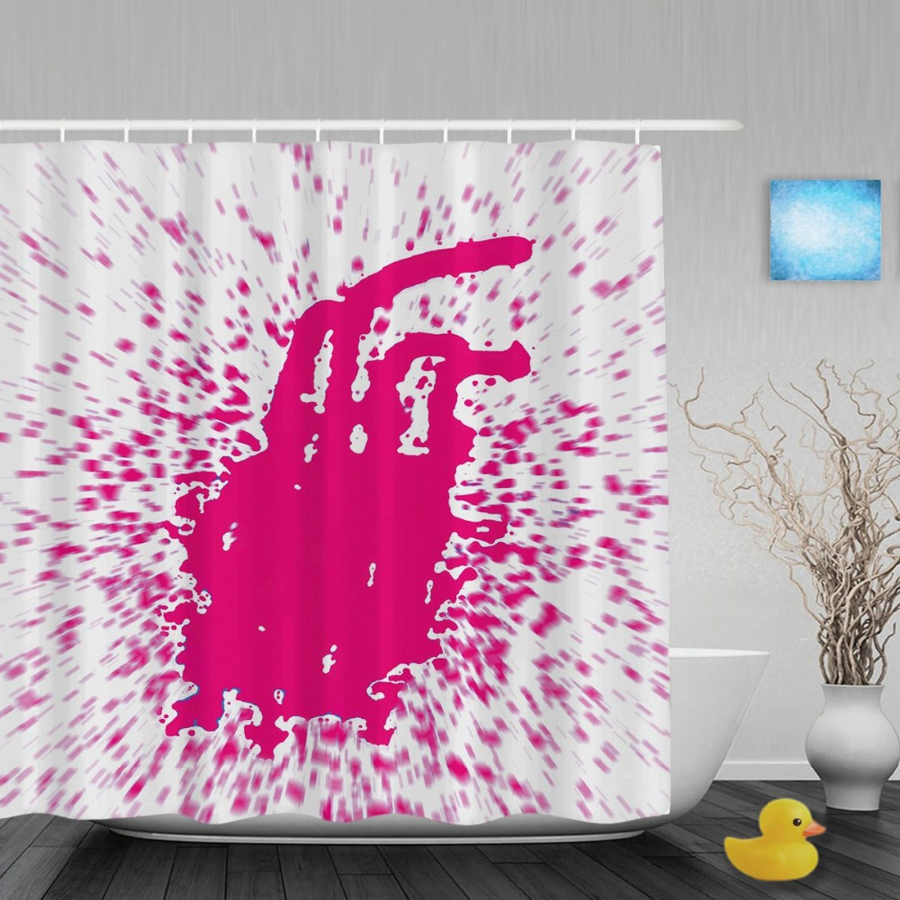 Red Paint Splash Isolated Decor Bathroom Shower Curtains Gift For  Valentineu0027s Day Waterproof Mildew Polyester Fabric