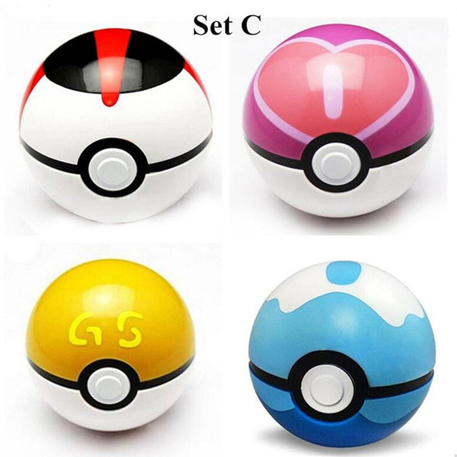 4Pcs/Set Pokemon Pokeball With Random Pikachu Toys