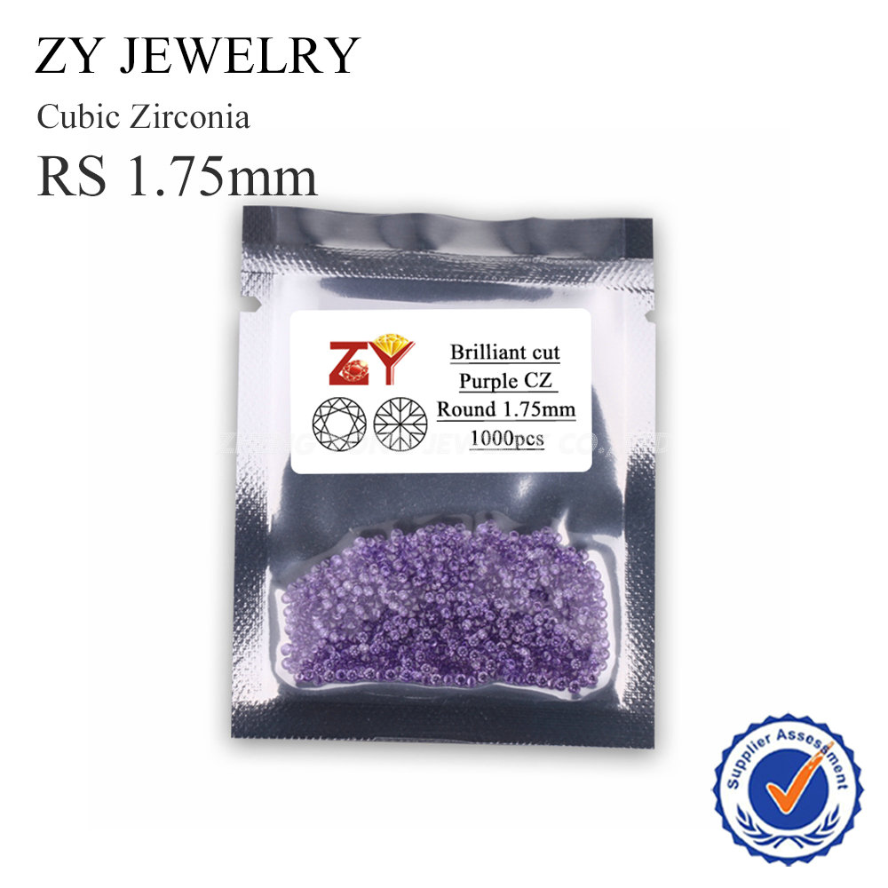 1.75mm Round Shape Brilliant Cut Purple Synthetic Cubic Zirconia Loose Stone Lot