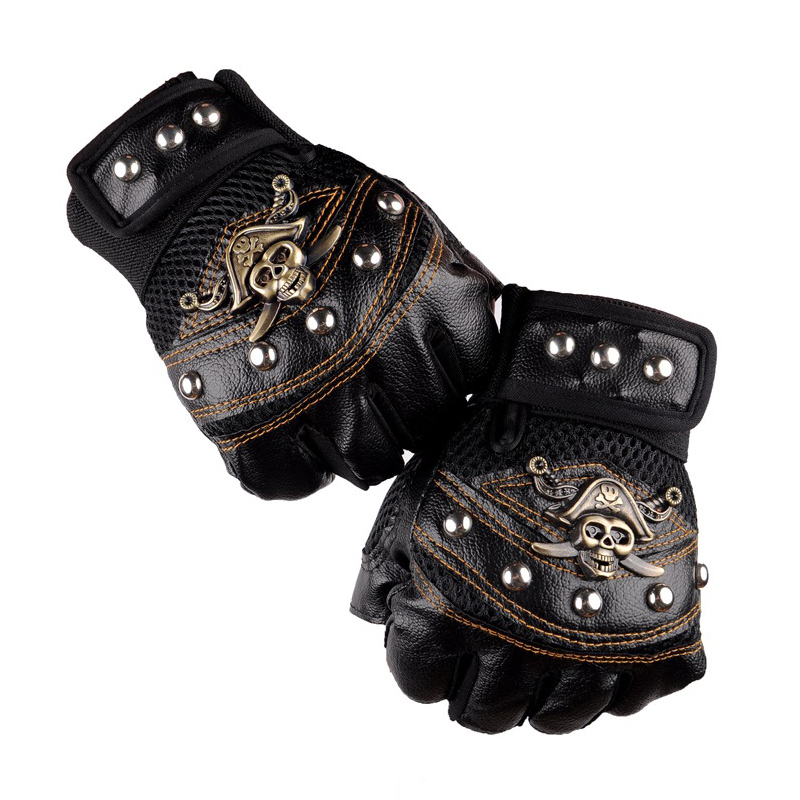 Leather Motorcycle cross Racing Gloves Half Fingers Pirate skull rivet Punk Gloves