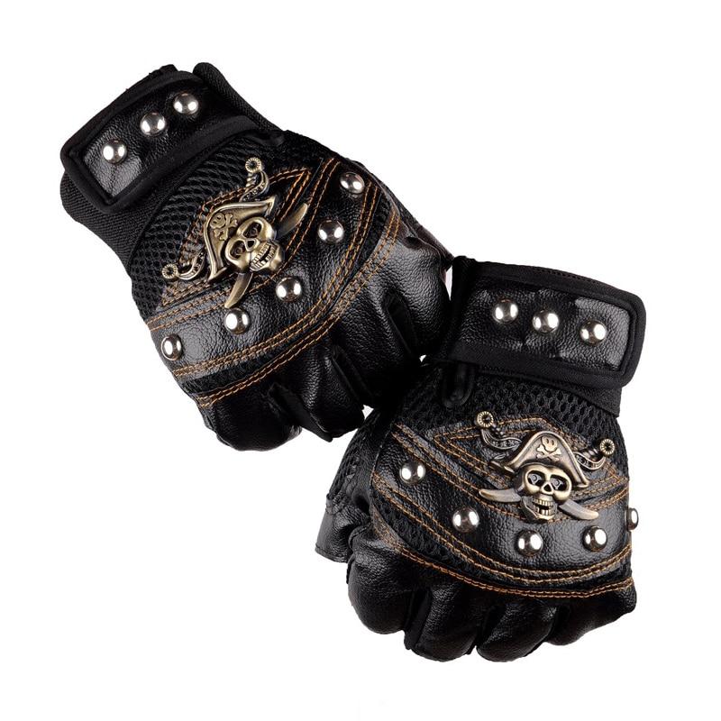 Leather Motorcycle cross Racing Gloves Half Fingers Pirate skull rivet Punk Gloves