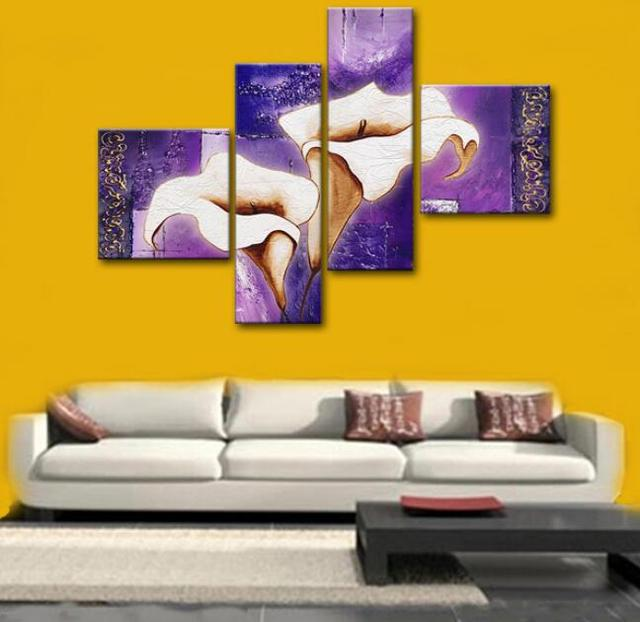 High quality canvas art flowers oil painting images 4 piece wall art ...