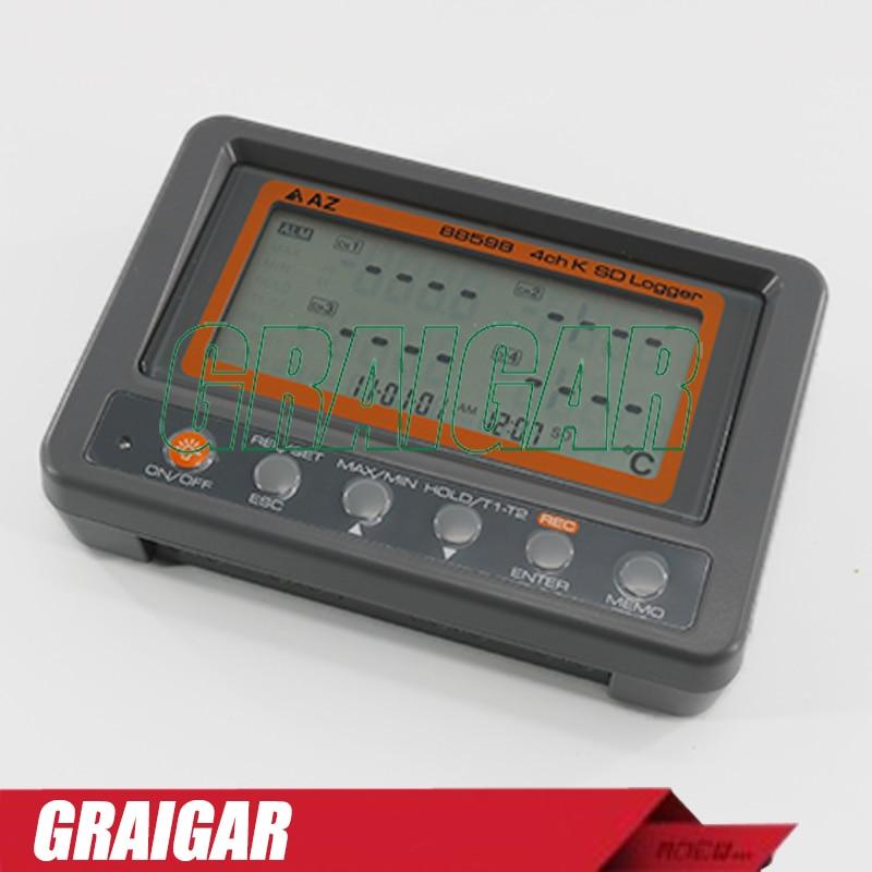 Multi-channel Digital Thermometer AZ88598 4 Channel K Type Thermocouple Temperature logger SD Card Data Logger AZ-88598 цена