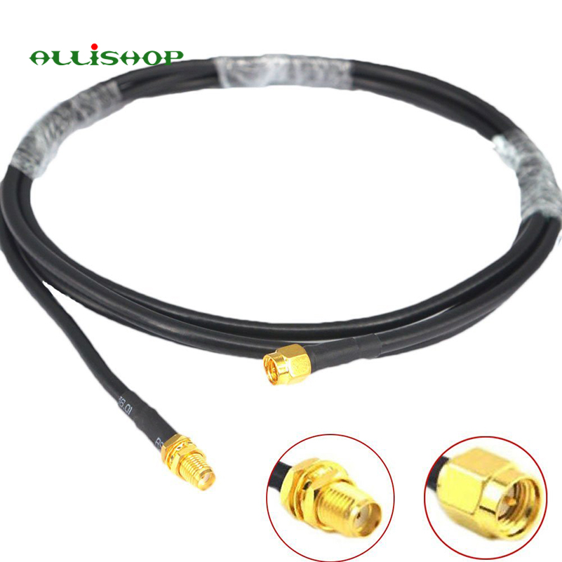 WIFI Antenna Extension 5M SMA Male to SMA Female RG58 Coaxial Cable Patch Lead low loss Coax For Wireless External Aerial Router allishop 15m sma male to rp sma female rg316d double shielded cable for wifi antenna rf extension ultra low loss