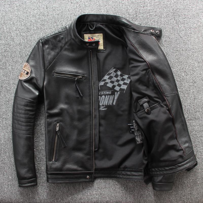 Free Shipping.wholesales Mens Genuine Leather Jacket,motor Biker Jacket For Man.black Slim Cowhide Coat.Brand Sales Plus Size