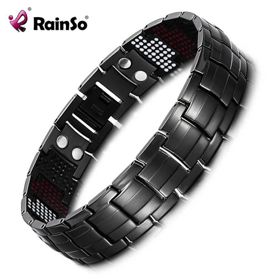 "Rainso ユニークなメンズ健康ブレスレット複数行 4 要素治療ブレスレットチャーム黒チタン腕輪 8 ""OTB-1537BK-1"
