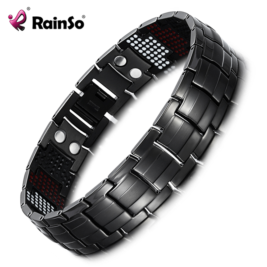 "Rainso Unique Mens Health Armband Multi Row 4 Elements Therapy Armband Charm Black Titanium Bangles 8 ""OTB-1537BK-1"