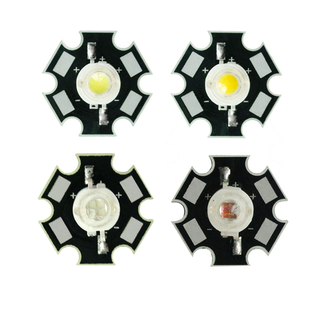 5PCS 5W Epiled White Warm white Red Green Blue High Power LED Emitter with 20mm Star Base for Plant Grow/Aquarium
