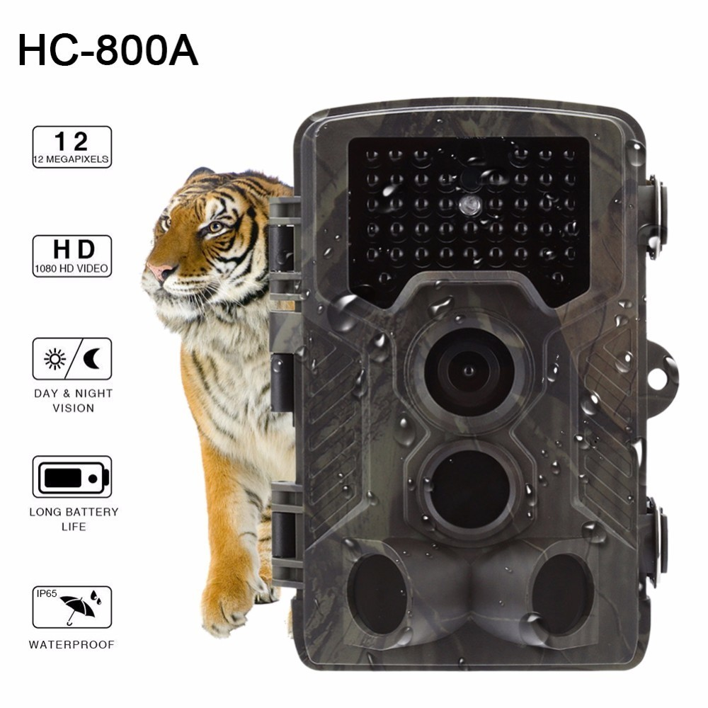 HC-800A 12MP 1080P Infrared Digital Trail Camera Video Record IR Night Vision Wildlife Hunting Camera Traps Trail Camera hc 800a 12mp 1080p infrared digital trail camera 120 degree wide angle night vision hunting camera wildlife scouting device