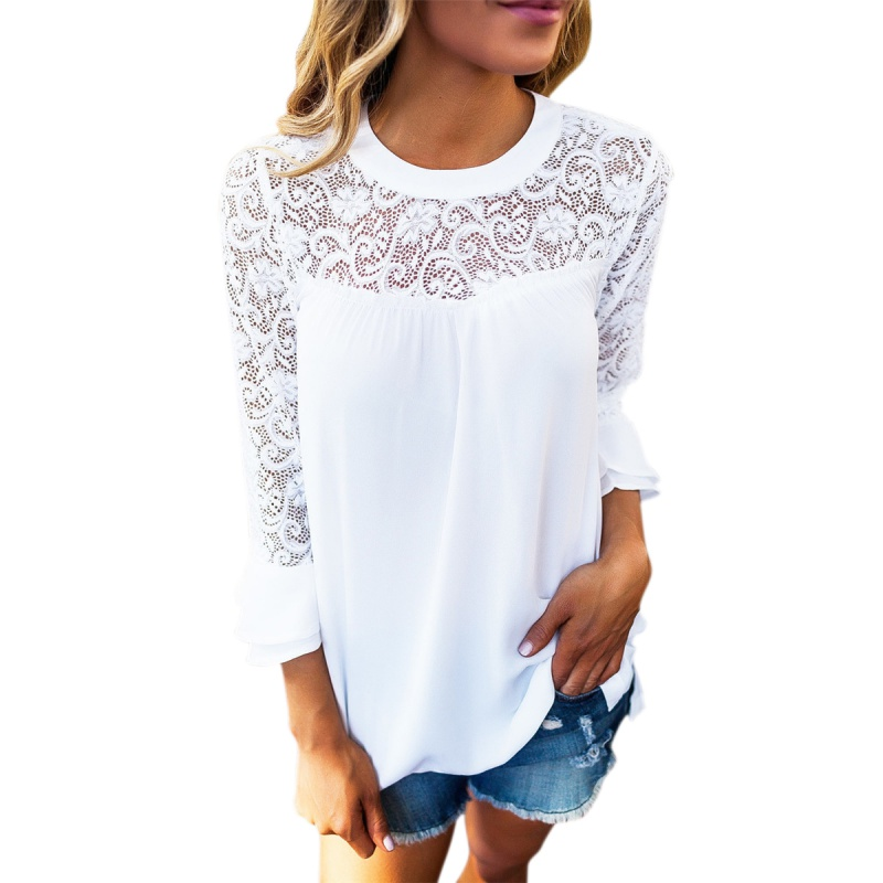 2018 Summer Women Top Lace Blouse Long Sleeve Elegant White Femme Hollow Out Ladies Office Shirt Transparent Cotton Blusas Mujer