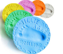 100g/6 Colors Baby Care Air Drying Soft Clay Baby Handprint Footprint Imprint Kit Casting Parent-child Hand Inkpad Fingerprint