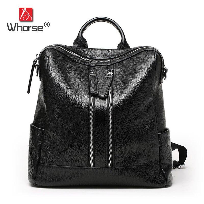 цена на Luxury Double Zipper Genuine Leather Backpack Women School Bags Cowhide Ladies Backpacks Back Pack Casual Daypacks Black W08050