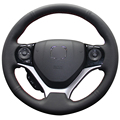 Black Artificial Leather Car Steering Wheel Cover for Honda Civic 2012 2013 2014