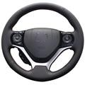 Negro de cuero artificial cubierta del volante del coche para honda civic 2012 2013 2014