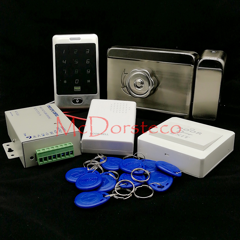 Brand New In Stock Full Waterproof Metal RFID Card Code Touch Keypad Door Access Control Kit Electric Door Rim Lock wholesale new white rfid card reader code keypad door access control system electric strike door lock in stock free shipping