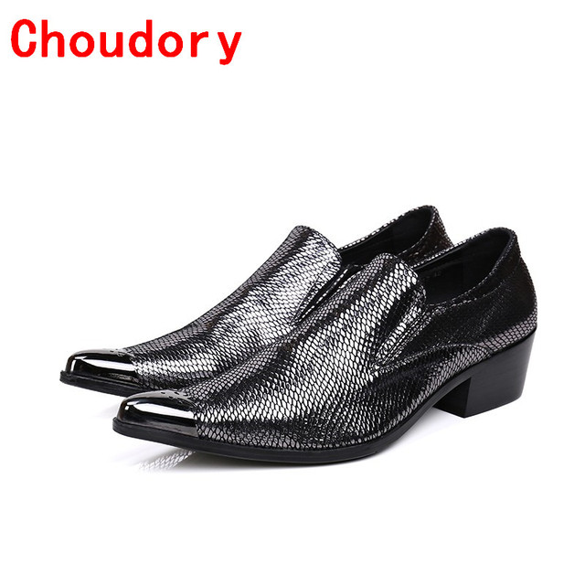 0eabc6e65e Choudory Fashion mens shoes high heels black genuine leather slip on loafers  luxury pointed toe dress shoes oxford size13