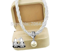 Silver Plated Cream Pearl Chain Shall Pearl Drop Necklace and Stud Earrings Party Jewelry Sets(China)