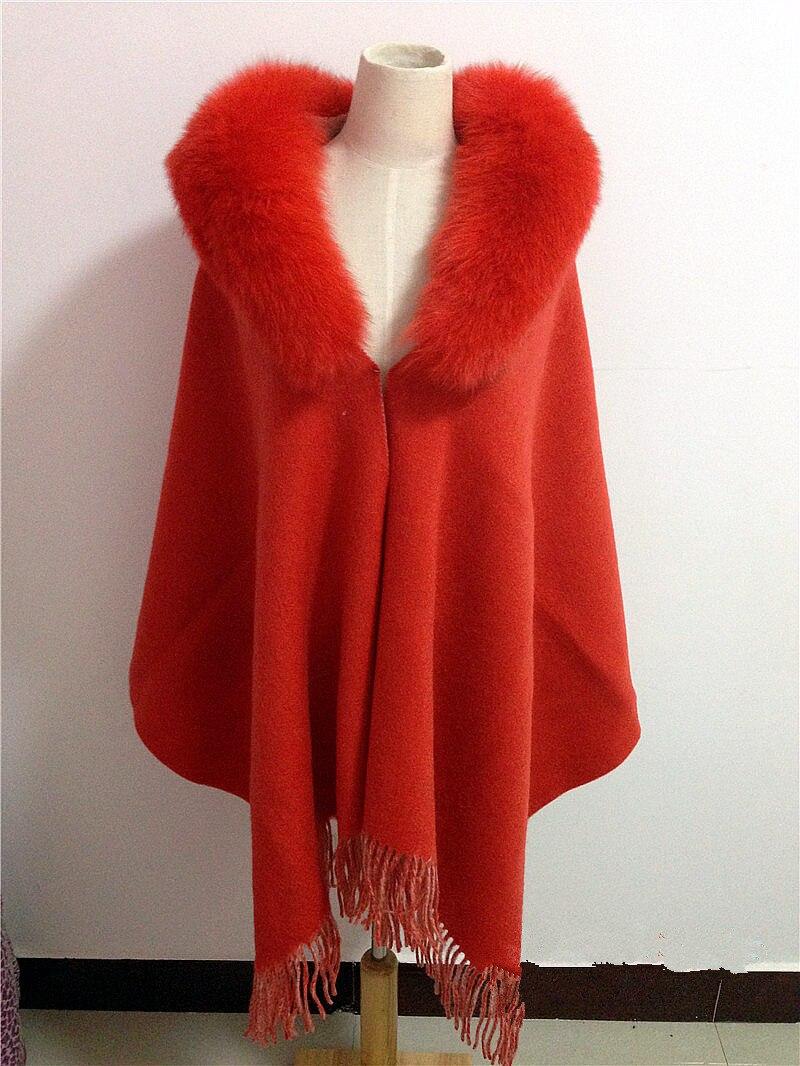 Зеленый платок с меховая отделка натуральный Лисий мех воротник шарф женские зимние Осень весна серый красный зеленый Кашемир меха S38