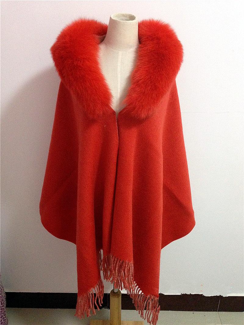 Green shawl with fur trim Natural fox fur collar scarf women female winter autumn spring gray red green Cashmere fur shawl S38