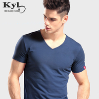Tee Shirt Homme 2018 Summer V Collar Fitness T Shirt Men New Fashion Brand Solid Color