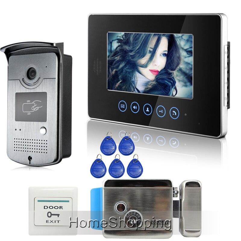Бесплатная доставка сенсорный ключ Мониторы 7 дюймов ЖК дисплей Видеодомофоны телефон двери Дверные звонки Системы RFID двери Камера + электр
