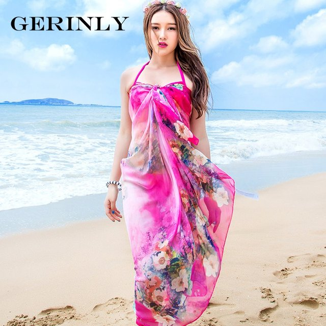 9435a0ae9ade3 GERINLY Beach Sarong Scarves Women Chiffon Wrap Blossoms Print Swimsuit  Cover Up Bikini Scarf Pareo Dress Shawls Plus Size Hijab