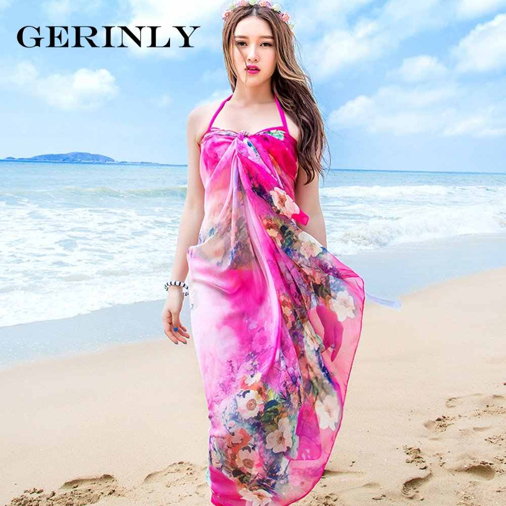 9b81a1b20f09c GERINLY Beach Sarong Scarves Women Chiffon Wrap Blossoms Print Swimsuit  Cover Up Bikini Scarf Pareo Dress