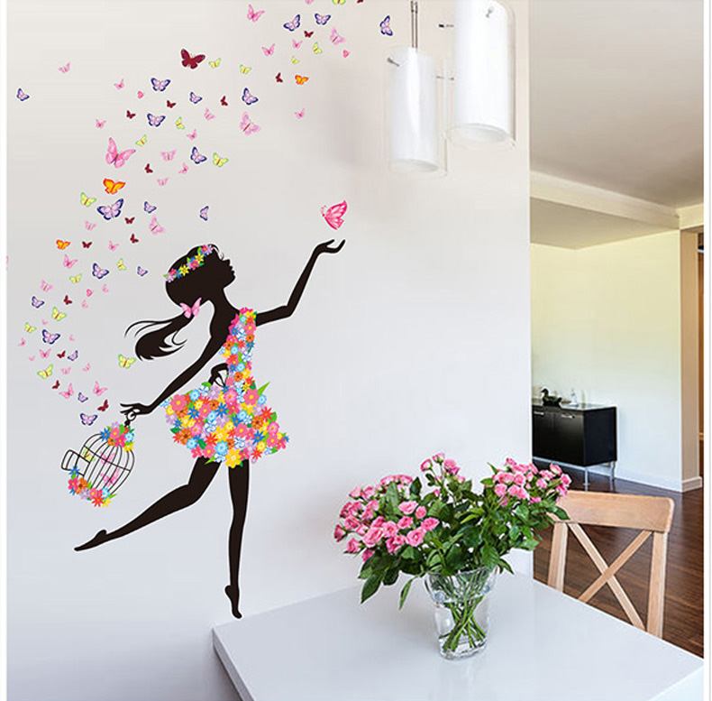 Aliexpress Com Buy Butterfly Girl Diy Wallpaper For Kids Rooms Sofa Bedroom House Decoration Art Decals Design 3d Home Decor Vinyl Wall Stickers From