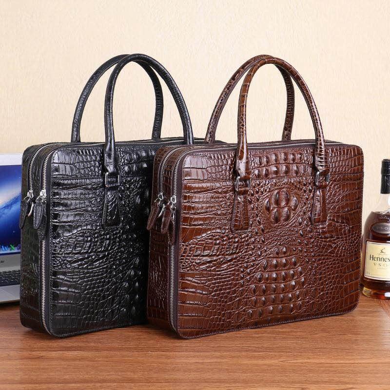 Kaisiludi Leather Bag Handbag Business Man Briefcase Crocodile Tattoo Computer Bag Fashion Single-shoulder Oblique Satchel