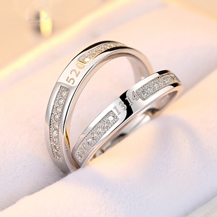 100 925 Sterling Silver Rings For Women Digita Zircon Couple Open Ring Men Femme Fine Jewelry Student Gift Adjustable Wedding in Rings from Jewelry Accessories