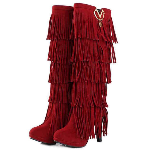 REAVE CAT Plus size 32-43 New Flock Winter Fur Women boots High heels Knee boots Fringe Tassels Fashion Black Brown Red ZL4150