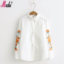 Machee 2017 Spring Floral Embroidery Female Blouse Shirt Casual White Shirt 100% Cotton Long Sleeve Blouse Women Tops Blusas
