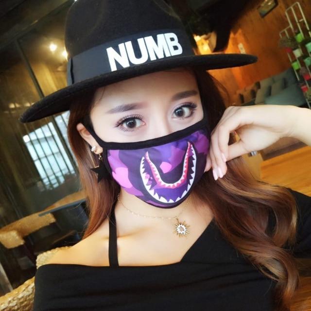 Women Men Unisex Hip Hop Trendy Half Face Mouth Mask Shark Colorful Camouflage Earloop Elastic Anti-Dust Kpop Muffle Protective