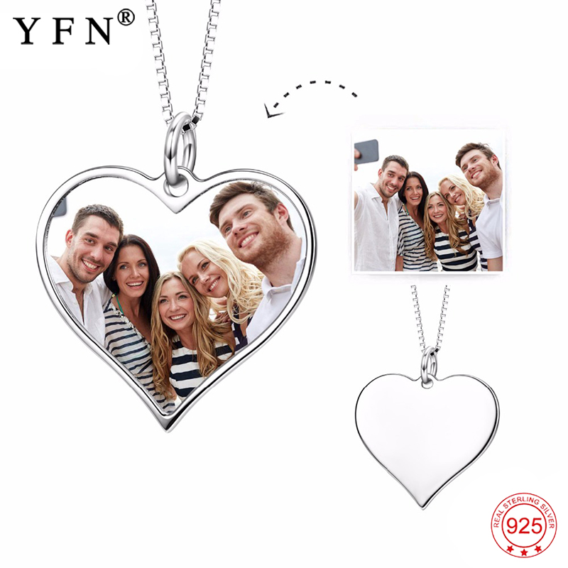 Necklace 2018 925 Sterling Silver Custom Photo Necklace Personalized Heart Pendants Necklaces Fashion Jewelry For Women GNX14626 fashion custom lettering 925 silver love heart shaped couple necklace peach heart pendants for men and women yp3196