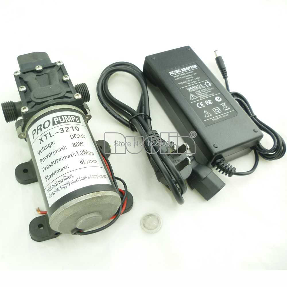 80W Automatic switch Mini DC Diaphragm small Water Pump 12v high pressure 6L/min with filter screen and 12v 8A power adaptor