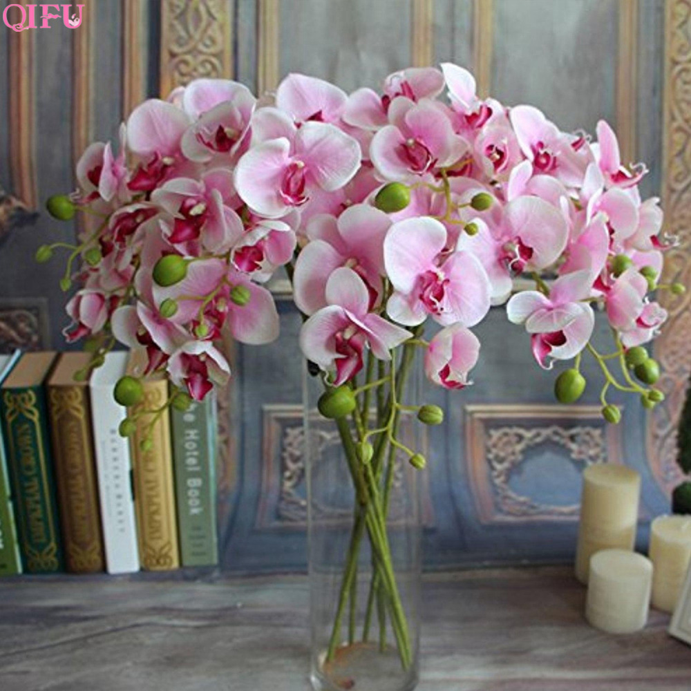 QIFU 1 PCS Artificial Flowers Real Touch Artificial Moth Orchid Butterfly Orchid for new House Home Wedding Festival Decoration