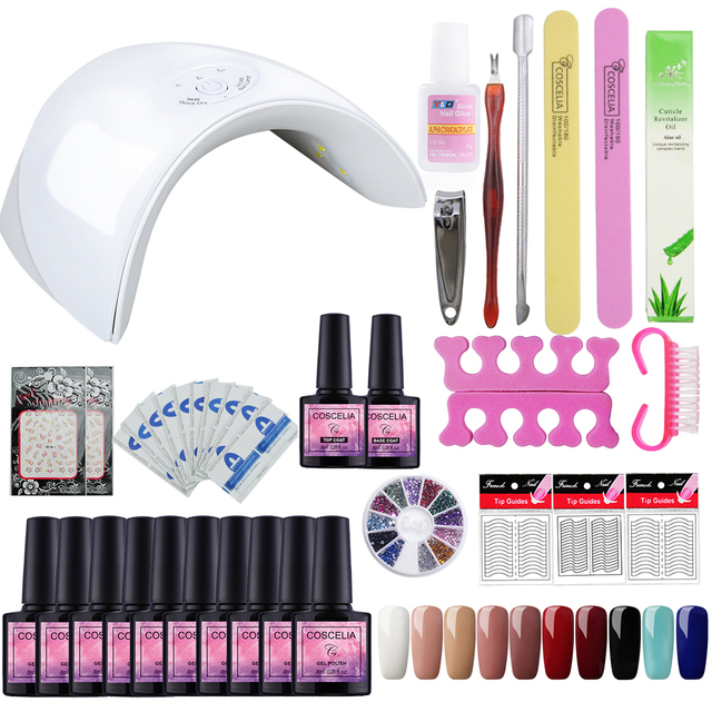 Pro Gel Polish Nail Art Set for Manicure 36W Soak Off Gel Nail Kit ...