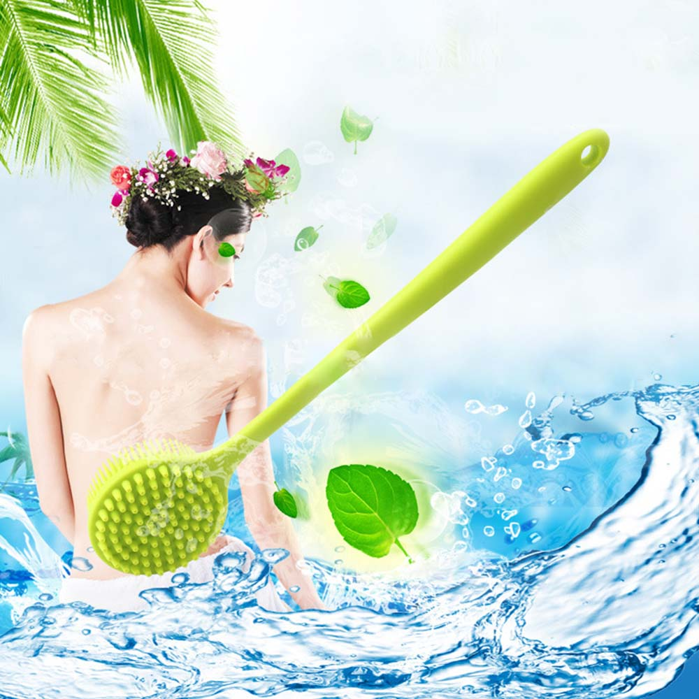 Multifunction Silicone Bathing Body Brush Long Handle Shower Soft Brush Body Scrubber Bath Products