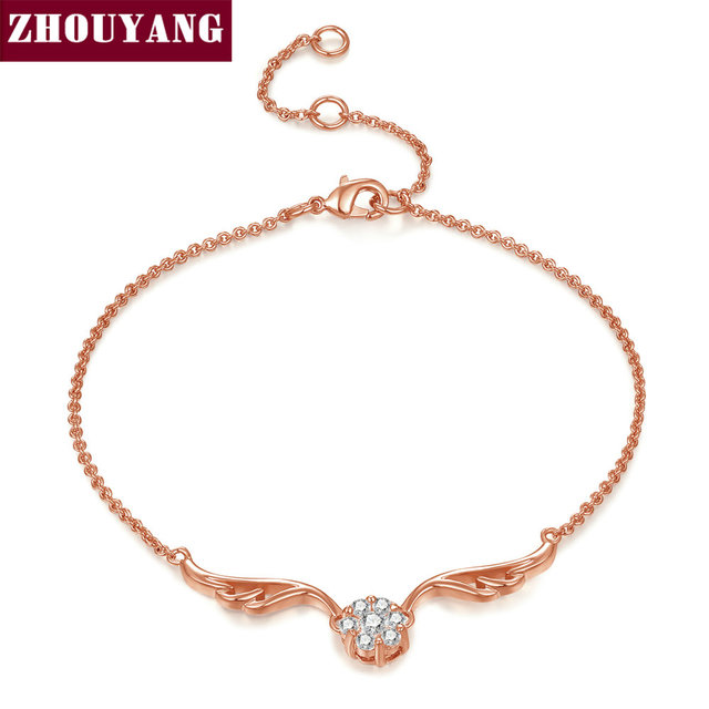 Angel's Wing Rose Gold Color Bracelet Jewelry Austrian Crystals For Women Gift Top Quality ZYH081 ZYH082