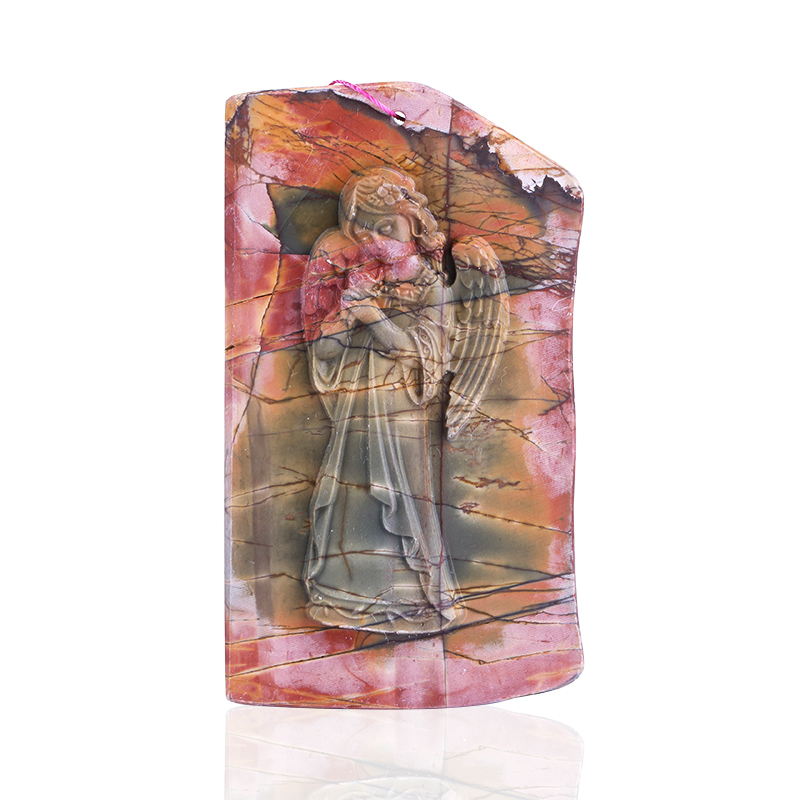 Natural Carved Multi-Color Picasso Jasper Angel Pendant Bead,85x50x9mm,64g vowel tajweed rules recognition using nnw