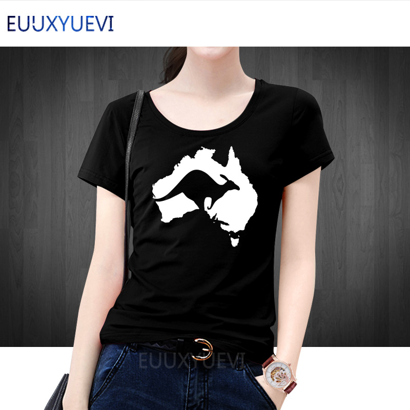 Summer Woman T Shirt Girl Short Sleeve T-shirt Cotton Women Tops Tee Cool Australia Map Kangaroo EUUXYUEVI