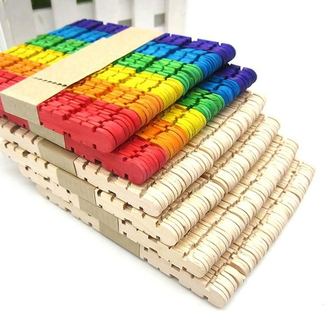Fashion Primary Rainbow Color Ice Cream Wooden Sticks Creative