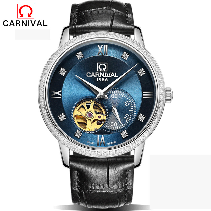 Carnival Black Skeleton Designer Blue Engraving Clock Men Leather Strap Mens Watches Top Brand Luxury Automatic Watch Montre Hom cadisen new design bezel golden watch mens watches top brand luxury montre homme clock men automatic skeleton watch